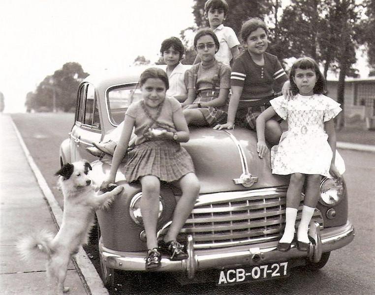 Passagem da 4ª classe no Luxilo em cima do Morris do Ermida.  Da esqªa para a dtª : Marisa, Tininha, Letinha, Rui, Isabel Ermida e Fátima ( o cachorro ??)
