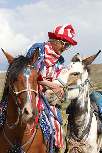 Our Owyhee Parade Mistress, Linda, aboard Ted and leading Hattie, Idaho