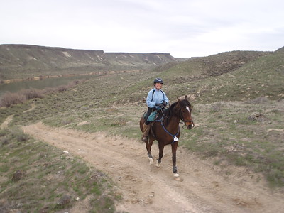 Naomi Preston and Fire Mt Malabar, one of AERC's top endurance horses, in the Owyhee Tough Sucker, Idaho