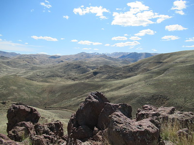 A wild horse hike in the Owyhee mountains, Idaho; if you look very very very closely you'll spot a herd