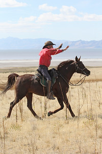 AERC Hall of Famer Crockett Dumas in the Antelope Island endurance ride, Utah