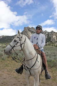 AERC Hall of Famer Dave Rabe at the City of Rocks endurance ride, Idaho. Yes, Dave always wears shorts, no matter the weather! You can tell it was cold, since  he wore a sweatshirt over his tank top.