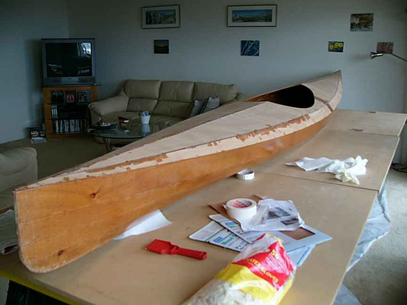 The kayak as it is so far in a more sea-worthy position...