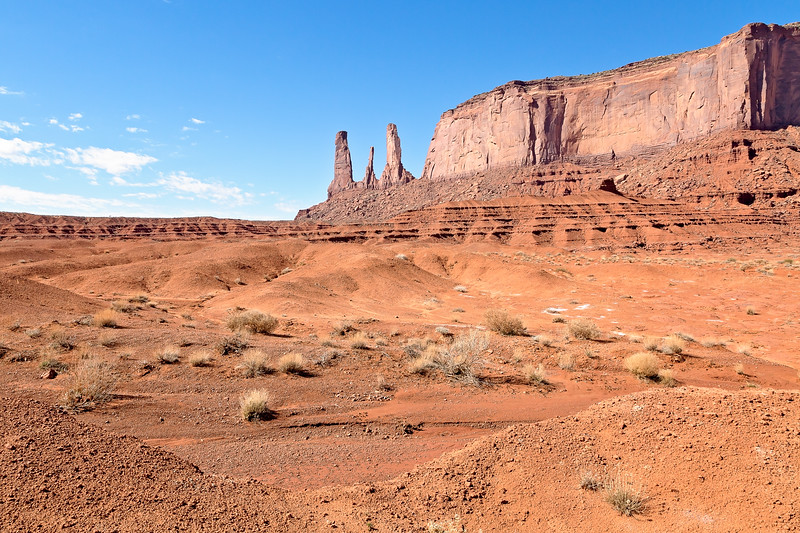 Three Sisters Formation in Monument Valley