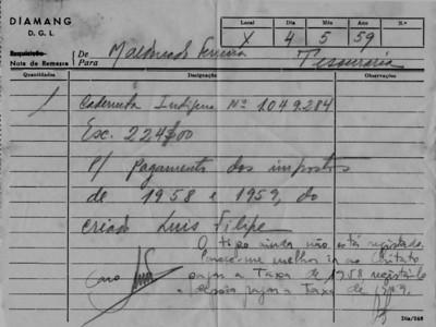 Pagamento dos impostos de 1958 -59 do criado do Maldonado Ferreira