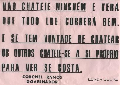 Julho 1974 - Governador da Lunda