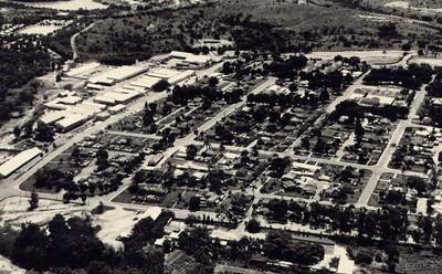 Vista aérea da zona dos armazéns