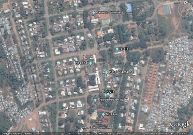 Foto satélite ( Google) do centro do Dundo