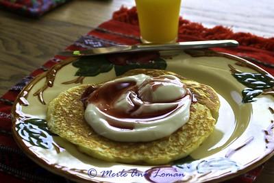 Breakfast in Ronan at Beryl and Linda's. Panckake yogurt and chokecherry syrup.