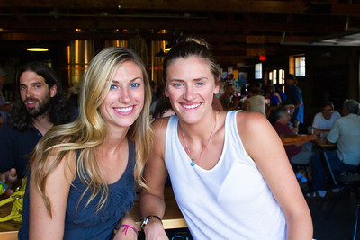Sadie and Jessa at Draught Works Brewery listening to Pinegrass.