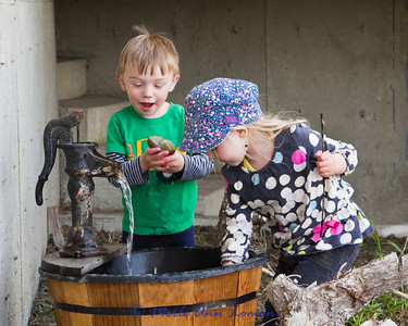 Water and kids, a natural attraction. Carter and Lillian are always entertaining.