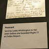 Pentagon - This postcard was sent by Leslie Whittington to her sister before she boarded flight 77 at Dulles Airport. Flight 77 was hijacked and later hit the Pentagon.