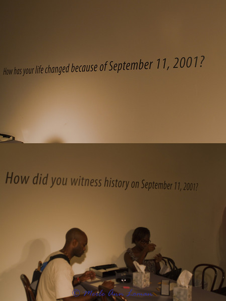 On the way out of the exhibit, visitors were invited to write about the above questions and post them on a wall in this room.