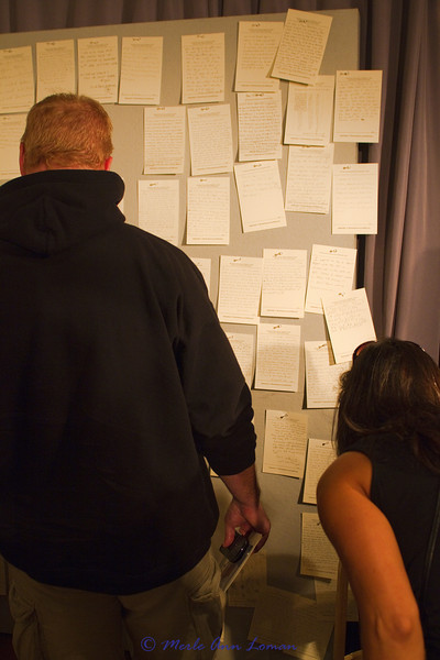 Moving to the wall of notes from visitors/contributors to this exhibit. Very moving.