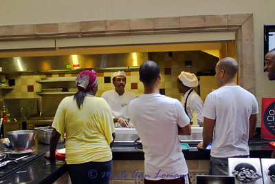 The most popular breakfast station, the made-to-order omelet bar.