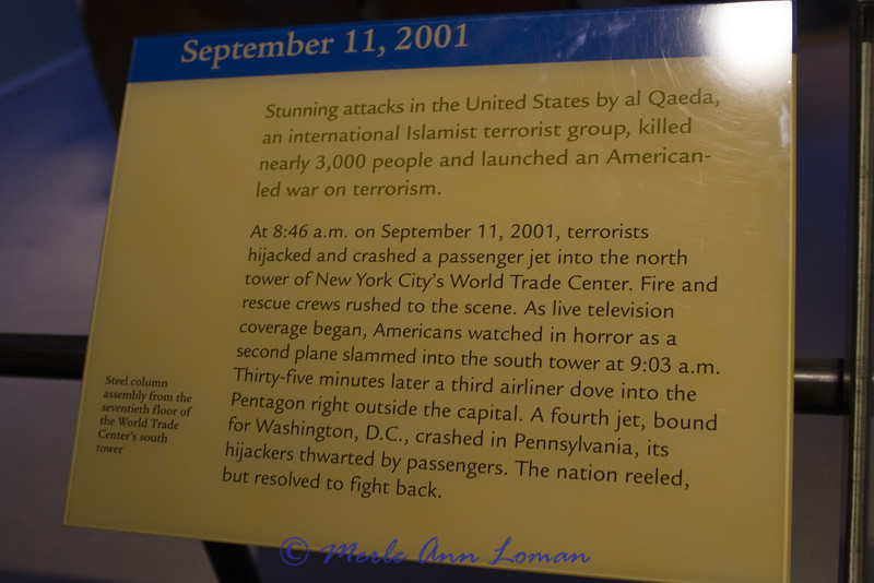 9/11 exhibit at the Smithsonian National Museum of American History  - detail of plaque