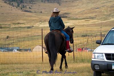 Mounted volunteers help with parking.