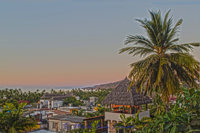 Early evening sunset at Sayulita looking northwest