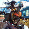 "Iron Horse sculpture at the University of Montana parking lot, by Jay Laber, titled ""Charging Forward""."