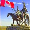 Guardians on Montana Hwy 89, Blackfeet Metal Warriors, Sculpture by Jay Laber, Blackfeet Reservation, near Heart Butte, Montana