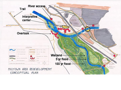 Conceptual redevelopment plan labeled