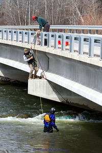 My first photo. They already had some ropes on the boat. Alan Burgmuller in the water (dry suit on) and Andy Rubic in the safety harness off the bridge. Bill Stroud is on the bridge.