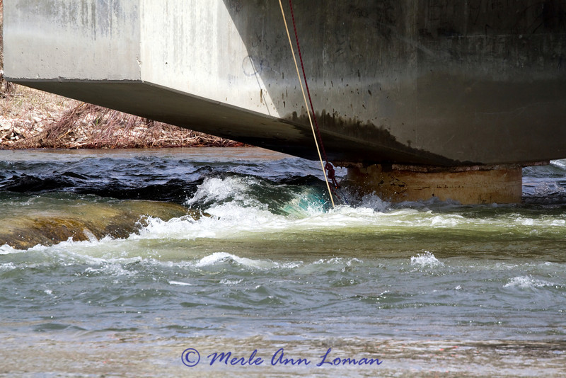 "The blue boat is lodged against a bridge pylon. There is a concrete mass like a ""weir"" to the left of the boat. Weirs are place in the river to alter the flow. I am not sure if this is why this conrete was there, but it did divert the angle of the flow of water."