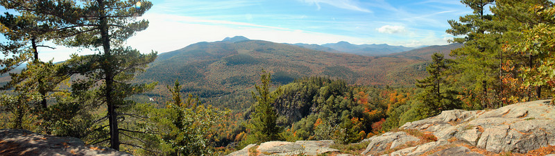 Albany NH - Boulder Loop Trail - Panorama  scenic view from the ledges at the top of the trail