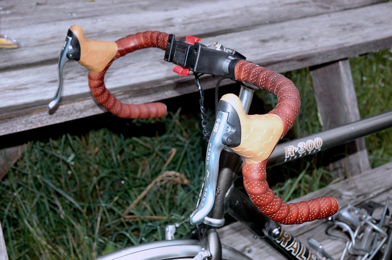 New Velo Orange leather handlebar tape and Cane Creek brake levers with retro gum hoods