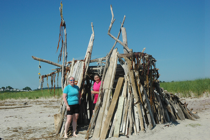 7/31/2011 - Sandy Point Judy and Debbie explore a driftwood hut.