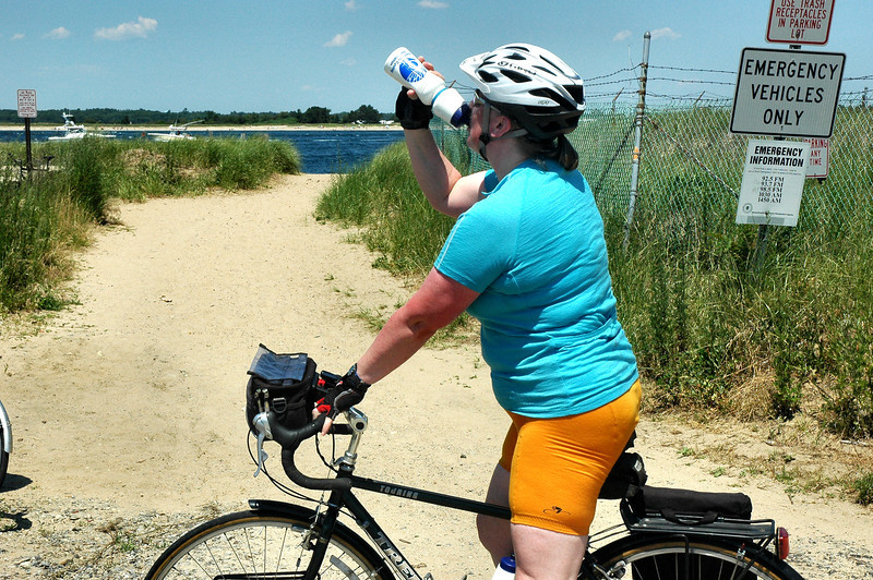 7/17/2011 Ride from Deer Island to Plum Island High Site At the High Site Judy reminds me to hydrate.