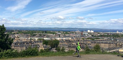 Yuliya on the top of Calton Hill