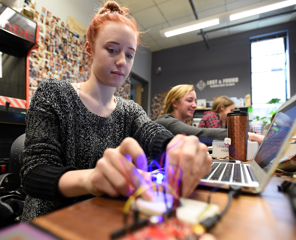 . Juliet Luna works on her project in her physical computing class in the Atlas Building on the University of Colorado campus on February 15, 2018. For more photos, go to dailycamera.com.  Cliff Grassmick  Photographer  February 15, 2018