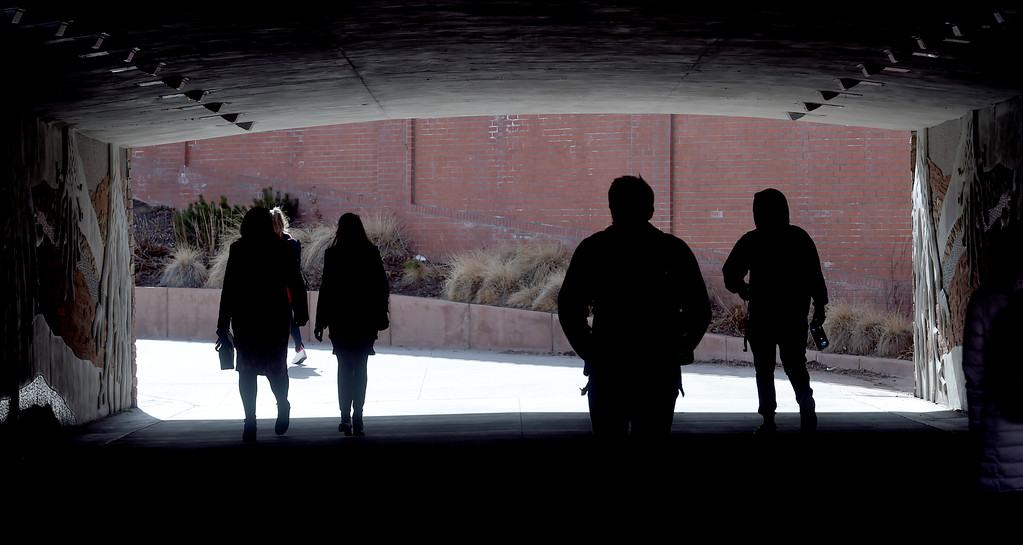 . CU students walk under Broadway while leaving  the University of Colorado campus on February 15, 2018. For more photos, go to dailycamera.com.  Cliff Grassmick  Photographer  February 15, 2018
