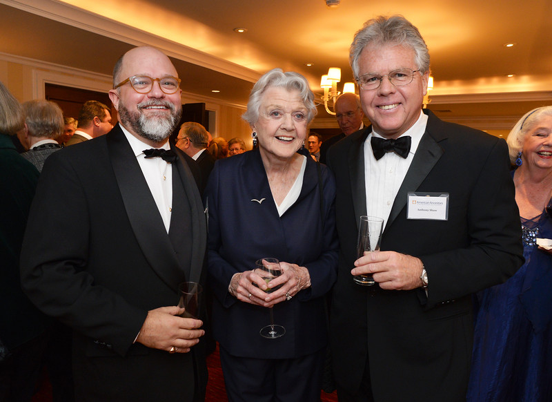 NEHGS President and CEO Brenton Simons, Dame Angela Lansbury, and her son Anthony Shaw.