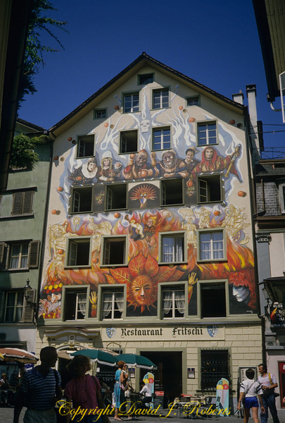 Highly decorated building in small square, Lucerne, Switzerland