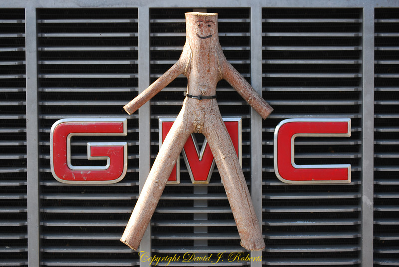 Stick Man found on the front of a big GMC work truck. The company made the crew remove the male appendage.