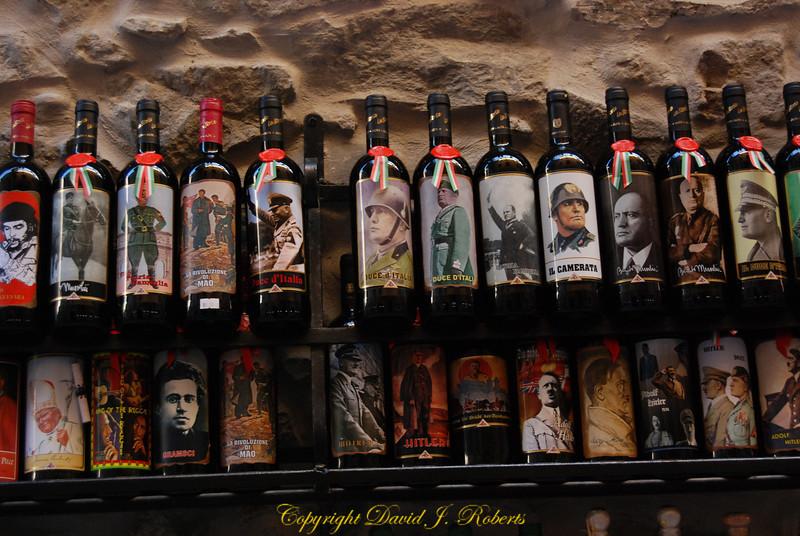 Wine shop with interesting Fascist Labels, Corniglia, Cinque Terre, Italy