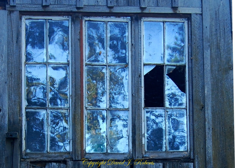Broken shed windows, Meadow Creek Ranch, Mariposa, California