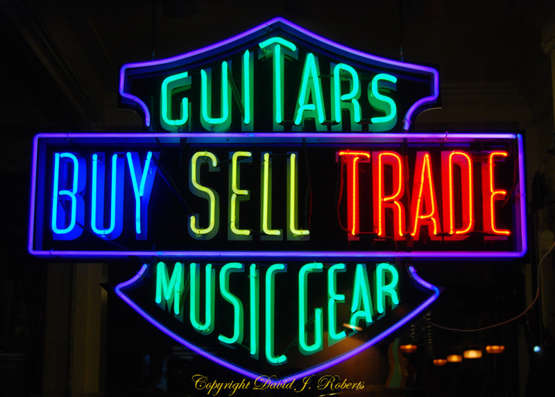 Guitar shop sign, Olympia, Washington