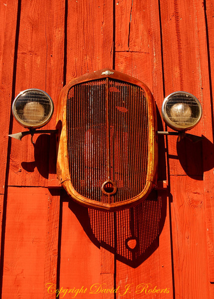 Antique grill and lights from car on the barn, Meadow Creek Ranch, Mariposa, California