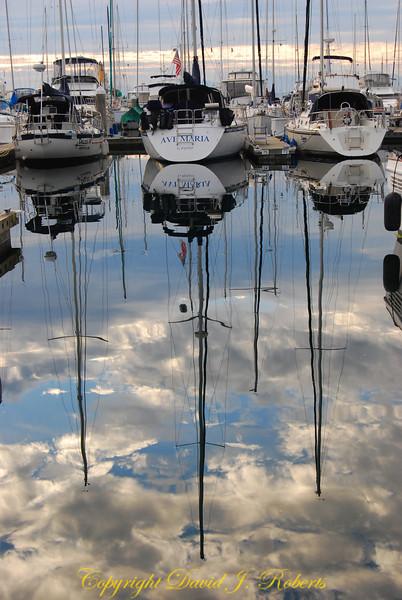 Sailboat reflections at Elliot Bay Marina, Seattle WA