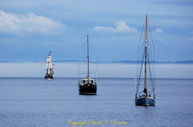 Boats emerging from the fog in Port Townsend, Washington