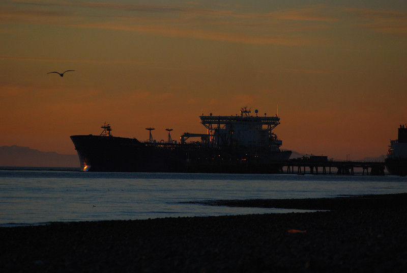 An oil tanker tied up at BP pier, Cherry Point WA
