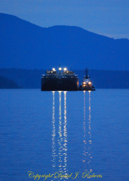 Fuel Barge and Tug send light messengers our way on Bellingham Bay Washinton