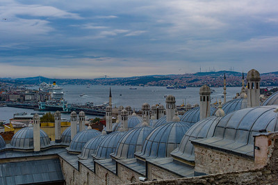 2014, Turkey, Istanbul, view of the Bosphorus Strait from the Suleymaniye Mosque
