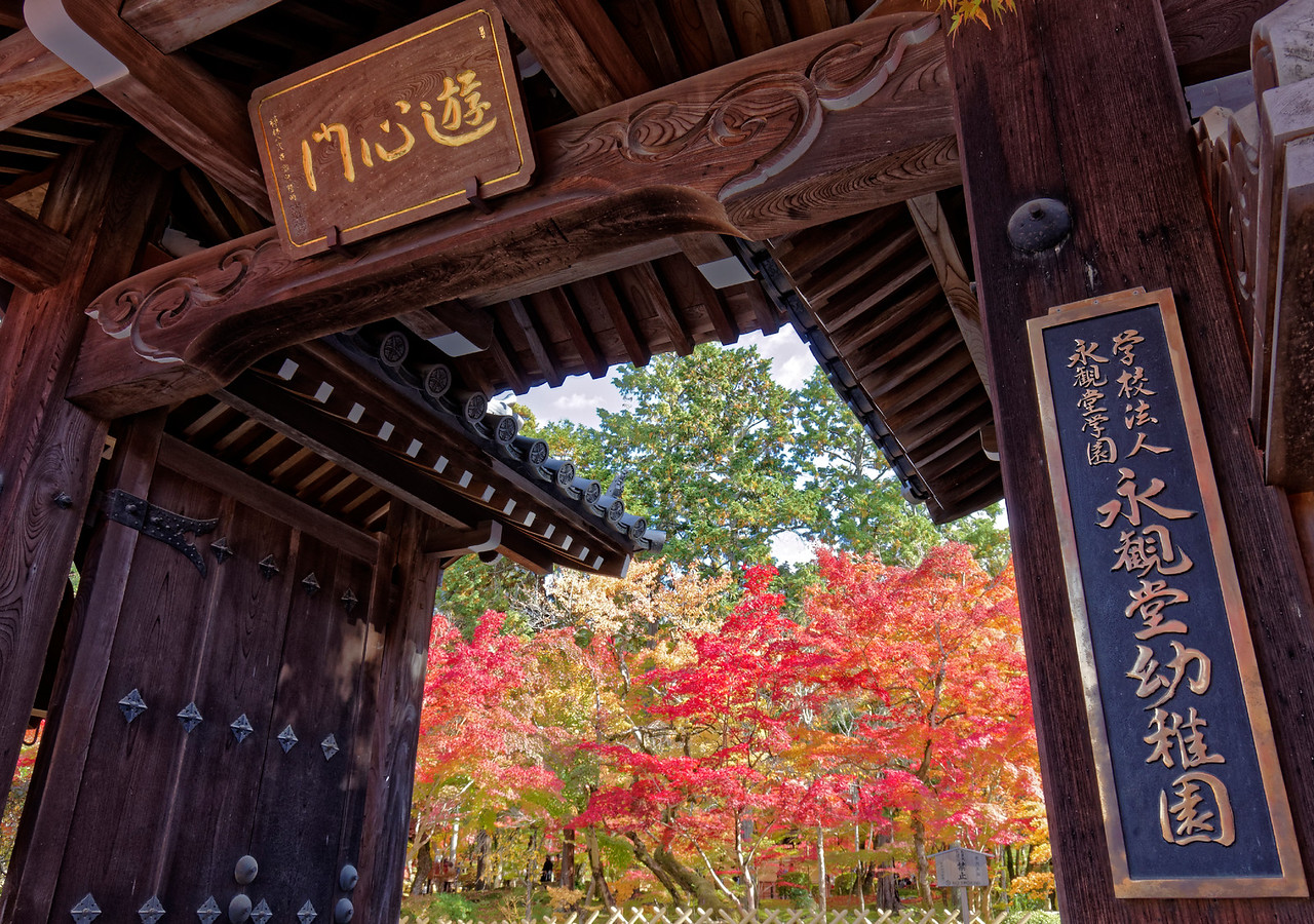 Entrance gate to a kindergarten run by the temple