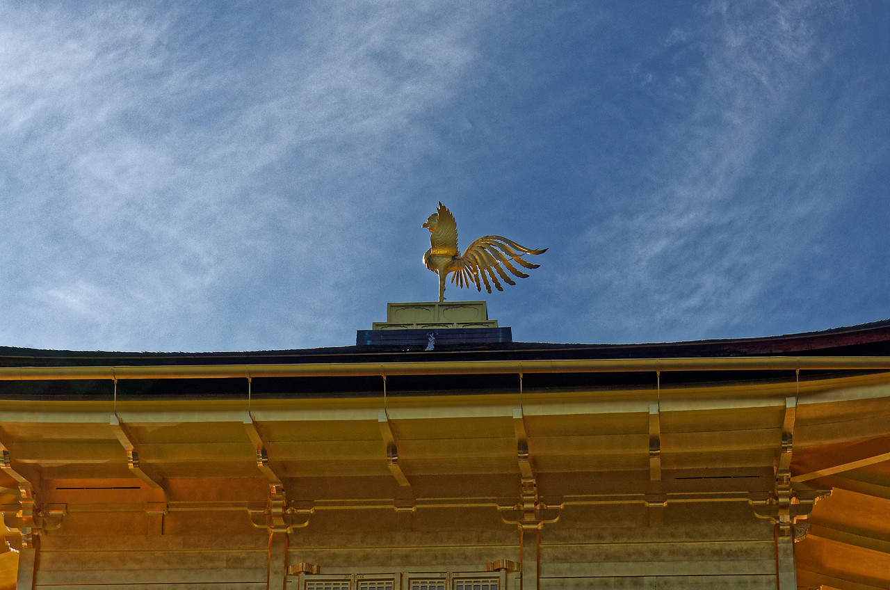 A Chinese phoenix sits on the top of the Golden Pavilion