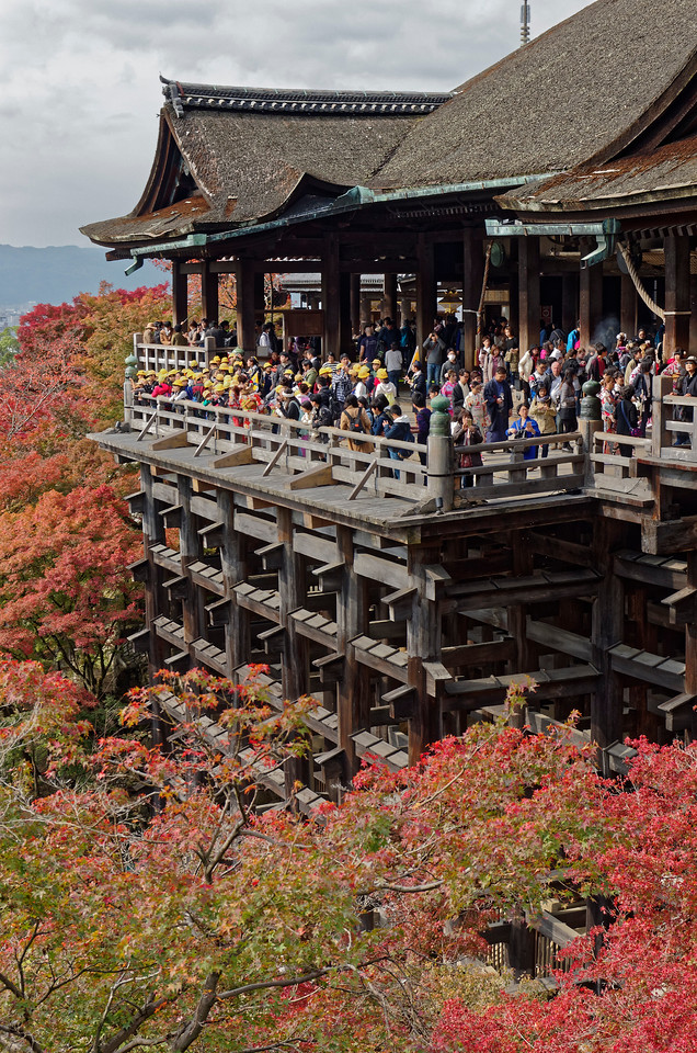 The main hall or Hondo and its viewing stage, which looks out onto the surrounding hillsides and onto downtown Kyoto. It is—as one might guess—a rather popular spot for visitors to the temple.