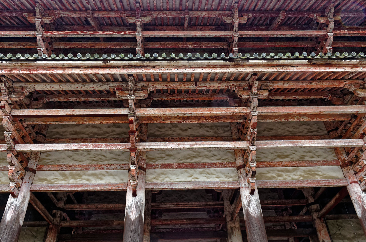 View looking up from under the roof of the main gate